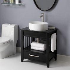 Art Deco 24 inch Black Bathroom Vanity Black Granite Top