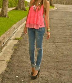 Pink, skinny, jeans, heels