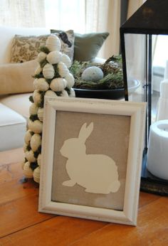 Craft Inspiration-Bunny Silhouette on burlap or rough linen