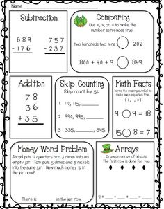 Math for 2nd grade--FREE spiral review for second grade--addition and subtraction with regrouping, arrays, comparing numbers, math facts, skip counting, and more