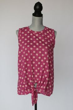 This sleeveless top is casual, fun and loose. Perfect for spring and summer, the tie front is in. The tank itself is Poly, Cotton, Rayon and love. Salt And Light, Front Tie Top, Pink Tops, Polka Dot Top, Casual, Cotton, Women, Fashion, Moda