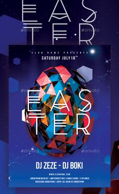Buy Easter Poster by D-S on GraphicRiver. Red Moon Rising, Happy Easter Day, Event Flyer Templates, Event Flyers, Easter Colors, Party Poster, Creative Advertising, Easter Party, Party Flyer