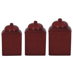 Delectably Yours Red Savannah Canister Set by HiEnd Accents - Matching Dinnerware available Southwestern / Western Kitchen Decor Red Kitchen Canisters, Storage Canisters, Gio Ponti, Hans Wegner, George Nelson, Barndominium, Herman Miller, Danish Modern, Chinoiserie