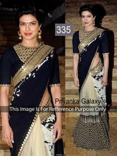 #PriyankaChopra in sabyasachi black bollywood #saree buy online at #craftshopsindia