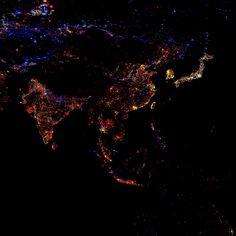 밤의 불빛으로 본 세계