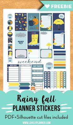 Free printable rainy fall weekly kit stickers for your planner - PDF  Silhouette cut files included. More free planner printables on http://lovelyplanner.com