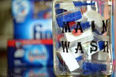 DIY dishwasher detergent storage / fight hard water stains with Finish dishwasher detergent / www.mrshinesclass.com #SparklySavings #CollectiveBias #shop