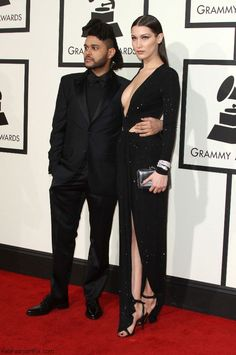 The Weekend and Bella Hadid at 2016 Grammy Awards. #grammys