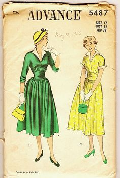 1950s dresses with pointed sleeves (sleeve flares). Advance sewing pattern.