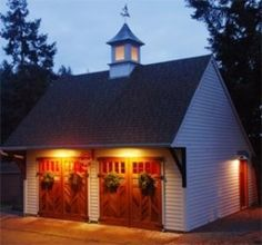 garage ideas by shawn- like the lighting- very welcoming #shedplans Garage Shed, Barn Garage, Garage Plans, Detached Garage, Shed Plans, Garage Ideas, Garage Exterior, Barn Plans, Garage House