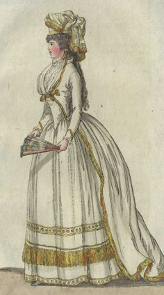 Journal de Luxus, January 1792.  Journal de Luxus was a German magazine that was published from the 1780s until the 1820s. This is a particular favorite of mine. I really love the yellow fringe trim, and this is an excellent example of a zone-front gown. Check out the little collar on it, too!