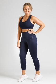 Simple, stylish, squat proof and pocket free, our Women's Activewear Navy Leggings in length are available in sizes in sizes Small to Navy Leggings, Downward Dog, Squats, Perfect Fit, Active Wear, Tights, Essentials, Sporty, Pockets