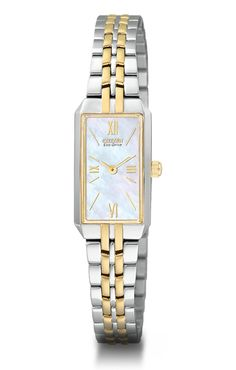 Classic mother of pearl faced dial with a two tone band Citizen women s  watch  tenenbaumsjewelry b2d5bf42ea