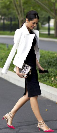 Love this whole outfit! Valentino Rockstud heels, black fitted dress, white jacket, animal print clutch. Polished, sophisticated and rocker chic too.