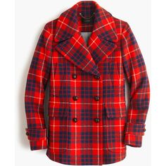A fashion look from December 2015 featuring striped t shirt, brown peacoat and Avon. Browse and shop related looks. Red Wool Coat, Plaid Coat, Plaid Jacket, Red Plaid, Casual Holiday Outfits, Clothes, Hamilton, Emma Swan, Kleding