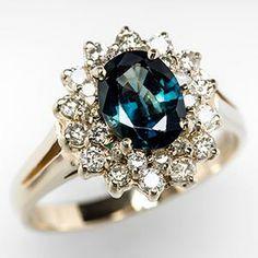 Diamond Halo Blue Green Sapphire Engagement Ring 14K Gold - EraGem