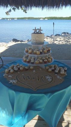 Small Beach Cake with Mini Cupcakes -  Key Largo wedding cakes  Beach Cakes