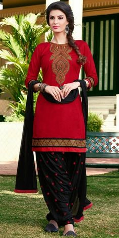 Dazzle Red And Black Cotton Patiala Suit.