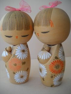 Pair of Vintage Japanese Wooden Hand Painted Kokeshi by Modernaire, $42.00