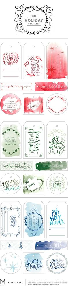 free Watercolor Gift Tag Printables - MStetson Design and T and S Craft