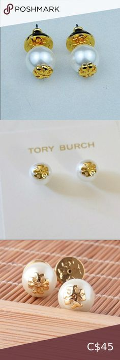 Tory Burch pearl earrings Gold and white Tory Burch pearl earrings BNWT, 100% authentic Tory Burch Jewelry Earrings Mother Of Pearl Earrings, Pearl Drop Earrings, Clip On Earrings, Pearl Logo, Rose Gold Pearl, Crystal Logo, Silver Logo, Pearl Studs, Earring Set