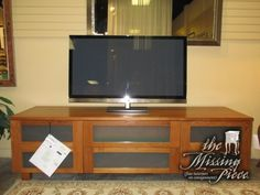 Scan Design Low Media Cabinet In Teak With Frosted Glass Front. There Is  One Shelf