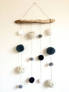 Driftwood Pom Pom Hanging Mobile Decoration Blue by HelCatEmporium