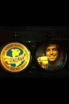Classic Schlitz picked at an Austin garage sale! Vintage Beer Signs, Schlitz Beer, Brewing Co, Garage, Neon, Drinks, Classic, Movie Posters, Carport Garage