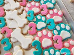 Paw Patrol Sugar Cookies - Pink and Turquoise - Skye and Everest