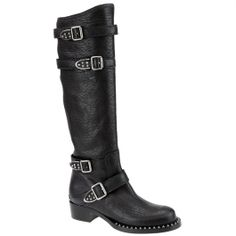 Miu Miu black leather knee high boots with studs, from autumn winter 2014. www.wunderl.com