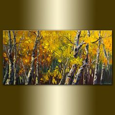 Love This:Original Birch Tree Forest Textured Palette Knife Landscape Painting Oil on Canvas Contemporary Modern Art Seasons 18X36 by Willson Lau. $255.00, via Etsy.