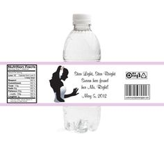 Bride with Ring Bridal Shower Water Bottle Labels