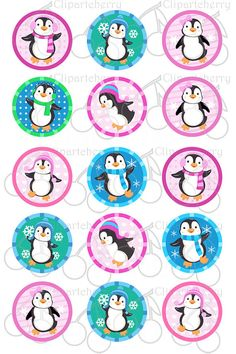 Cute Playful Penguins Digital Bottle Cap Image Collage Sheet for jewelry and hair bows Bottle Cap Jewelry, Bottle Cap Crafts, Diy Bottle, Penguin Birthday, Penguin Party, Penguins And Polar Bears, Image Collage, Silhouette Clip Art, Bottle Cap Images