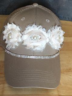 c01137952cd Items similar to Women s Trucker Hat. Baseball Hat. Women s Hat. Shabby  chic. Swarovski. hat.Khaki. Tan. snap back.rhinestone. bling. cap. on Etsy