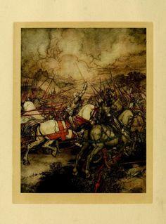 Arthur lève l'épée Excalibur (Arthur Rackham)