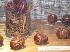 Brown enamelled eggs