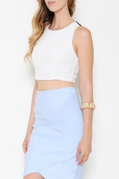 Sleevess Lace Scalloped Zipper Back Top