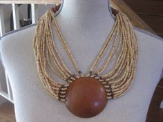 Large Wood & Multi Strand Beaded Necklace by MyLittleSomethings
