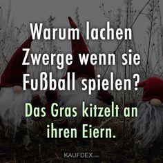 Warum lachen Zwerge wenn sie Fußball spielen? Das Gras kitzelt an ihren Eiern. Sieh dir jetzt lustige Sprüche mit Bilder an zum teilen oder selber erfreuen.