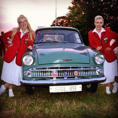 Goodwood 2014. Redcoat Hazel and Pamela with Cecil the Husky.