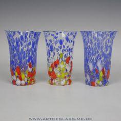 Kralik Bohemian set of 3 spatter glass tumblers glasses
