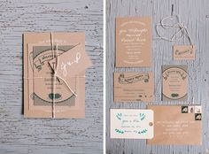 Wedding invitations on plain brown paper, tied up with string. Hip, rustic, vintage, cleve | Oak Hill, Hudson NY | Kelly Kollar Photography
