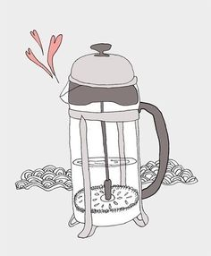 french press coffee: art by Nan Lawson
