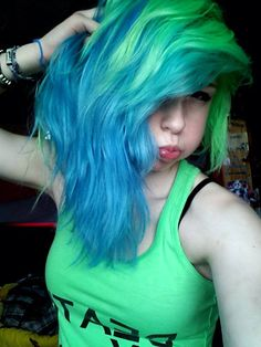 nice Turquoise and blue hair!... by http://www.dana-hairstyles.xyz/scene-hair/turquoise-and-blue-hair/