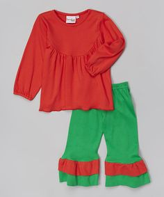 Love this Red Tunic & Green Ruffle Pants - Infant, Toddler & Girls by Barefoot Children's Clothing on #zulily! #zulilyfinds