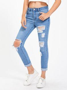 MakeMeChic - MAKEMECHIC Light Wash Shredded Rips Detail Jeans - AdoreWe.com