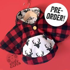 FOR A LIMITED TIME!!  This listing is for a Red Lumberjack Plaid fleece Mini Cape/Poncho lined in grey sweatshirt jersey with a white buck print pocket and hood lining. If youd like a matching hat please add which size cape and hat youd like in the comments. We have 2 sizes of hats 0-12mo or 1-4yr. You can see an example of the hat in the photos above (yellow hat).  IMPORTANT: As this is a pre-order and each cape will be custom made for you, please allow 1 month for production plus 3-7 days…