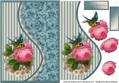 Vintage Rose Teardrop Side Panel Card on Craftsuprint designed by Mary MacBean…