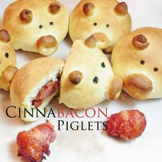 Cinnabacon Piglets: Pig-shaped cinnamon buns with a bacon surprise inside! Cute Food, Good Food, Yummy Food, Sugar Dough, Tapas, Dough Ingredients, Candied Bacon, Kids Meals, Breakfast Recipes