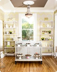 cutest idea for a little bakery, its light and cheery with the yellow, but subdued enough to be classic!